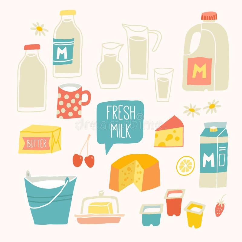 Sistema fresco de la leche Productos lácteos - leche, yogur, queso, mantequilla, batido de leche ilustración del vector