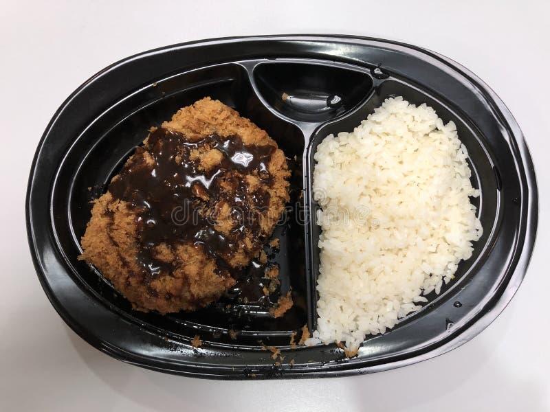 Sistema frito japonés del tonkatsu de la chuleta del cerdo fotografía de archivo libre de regalías