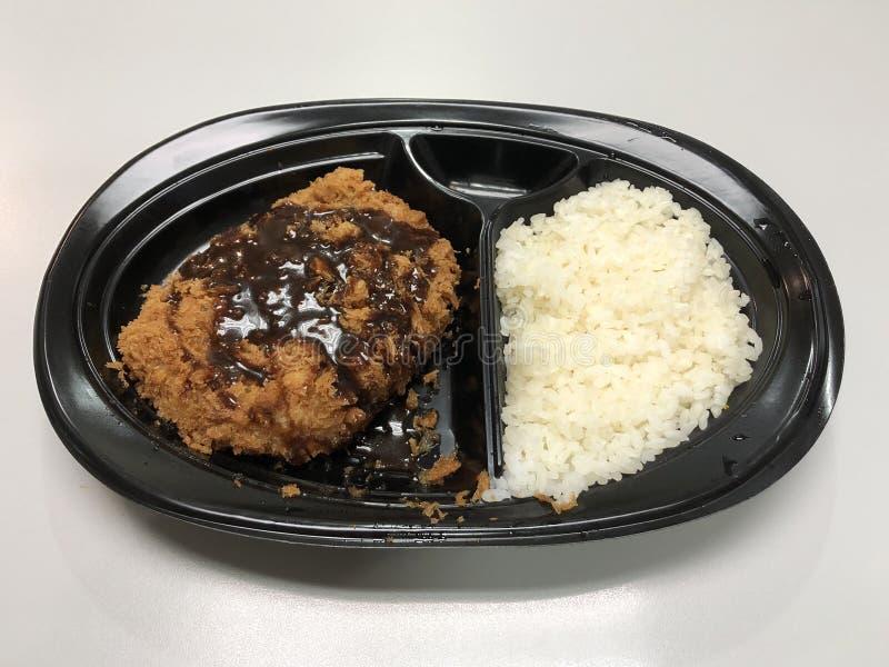 Sistema frito japonés del tonkatsu de la chuleta del cerdo fotografía de archivo