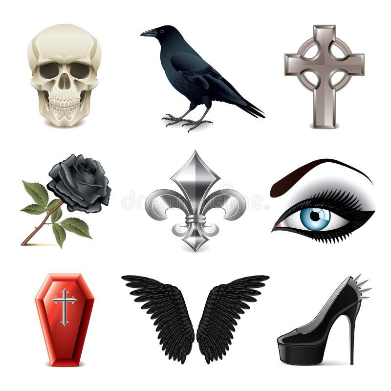 Sistema gótico del vector de los iconos de las cualidades stock de ilustración
