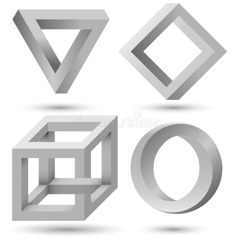 Sistema geométrico imposible sombreado del objeto stock de ilustración