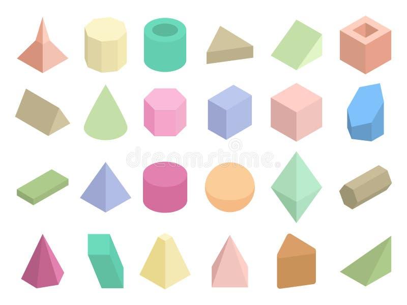 Sistema geométrico isométrico del vector de las formas del color 3d stock de ilustración