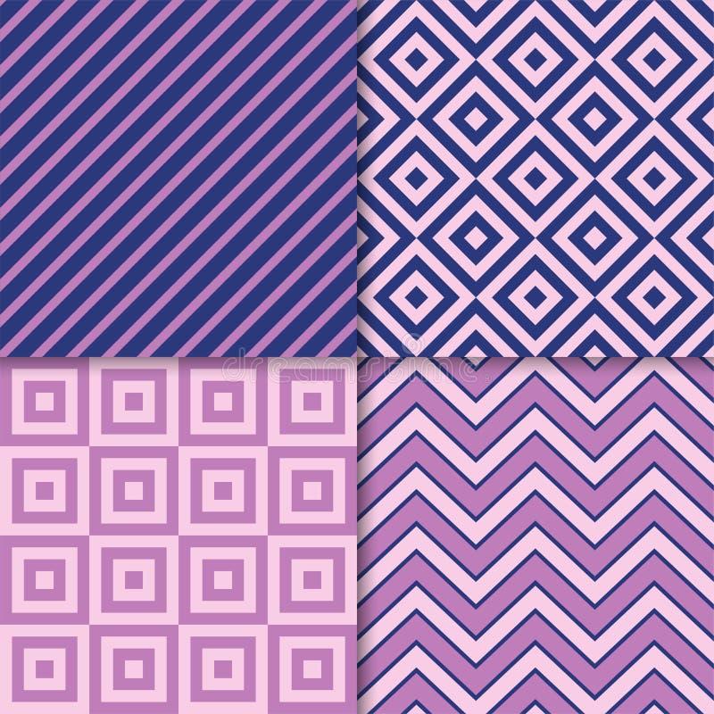Sistema geom?trico cl?sico del vector de los modelos Impresiones de la tela de materia textil, fondos geom?tricos stock de ilustración