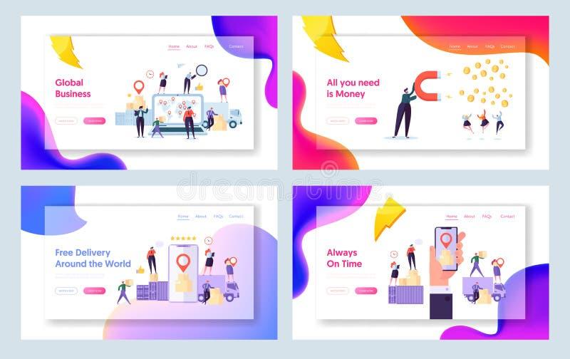 Sistema global en línea de la página del aterrizaje del concepto de la entrega del mundo Carácter de la gente que sigue el paquet libre illustration