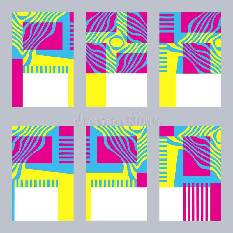 Sistema gráfico colorido de plantillas de la tarjeta con amarillo estilizado, azul libre illustration