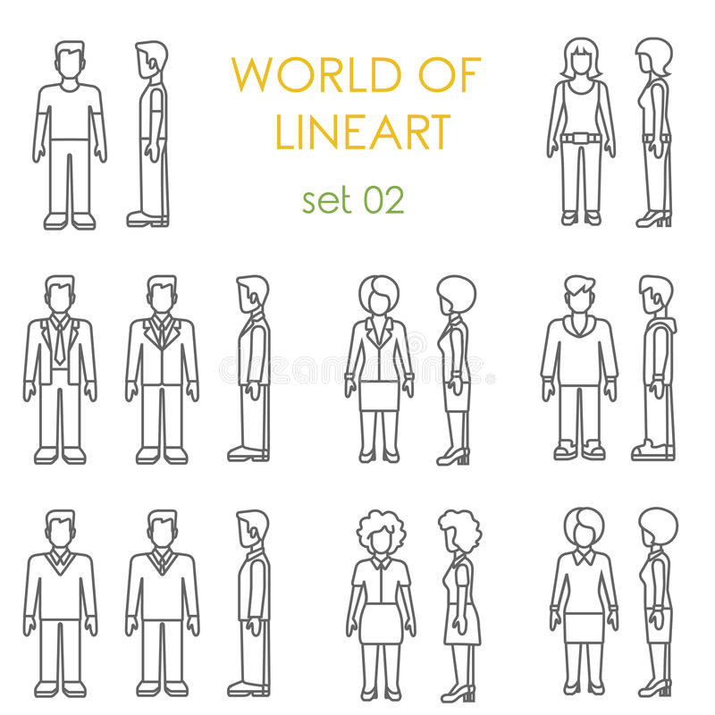Sistema gráfico del vector del lineart de los iconos de la gente Línea colección de arte ilustración del vector