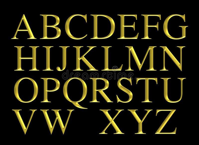 Sistema grabado de oro de las letras del alfabeto libre illustration