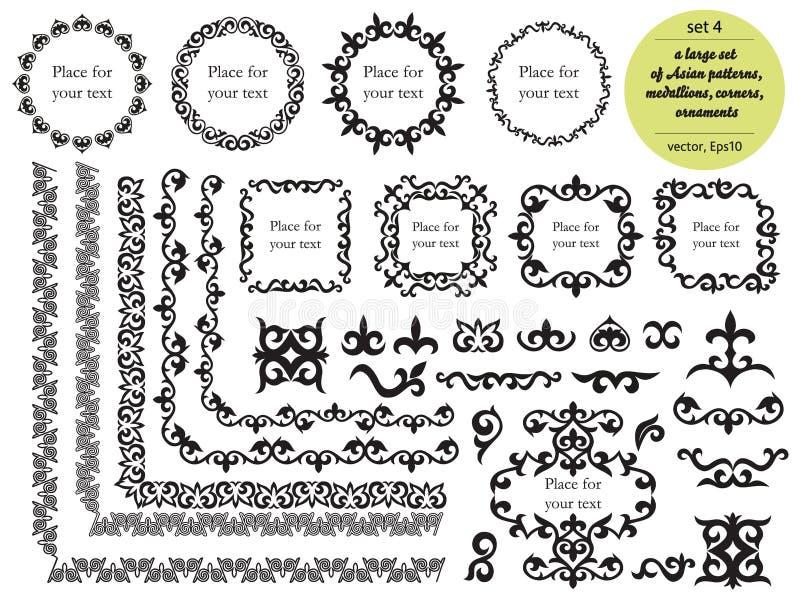 Sistema grande asi?tico de modelos y de ornamentos Sistema de las fronteras incons?tiles, ?ngulos hermosos, medallones Oriental,  ilustración del vector
