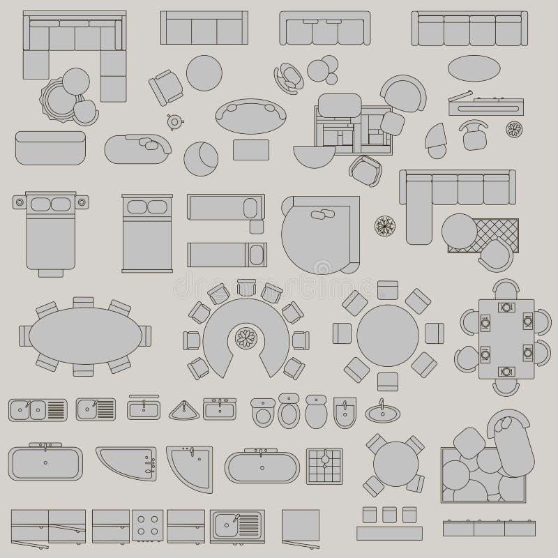 Sistema grande de accesorios stock de ilustración