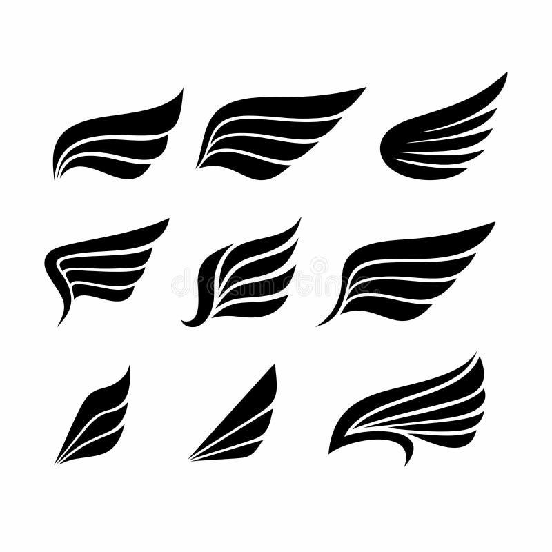 Sistema grande de alas ilustración del vector