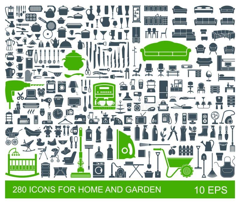 Sistema grande de artículos del hogar de los iconos de la calidad Muebles, artículos de cocina, dispositivos, cuidado de niños, j stock de ilustración
