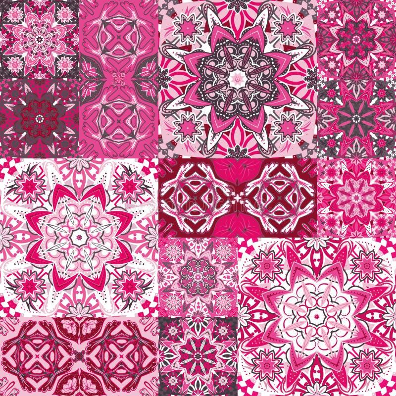 Sistema grande de baldosas cerámicas del vintage colorido con los modelos marroquíes adornados Fondos y tienda de las texturas libre illustration
