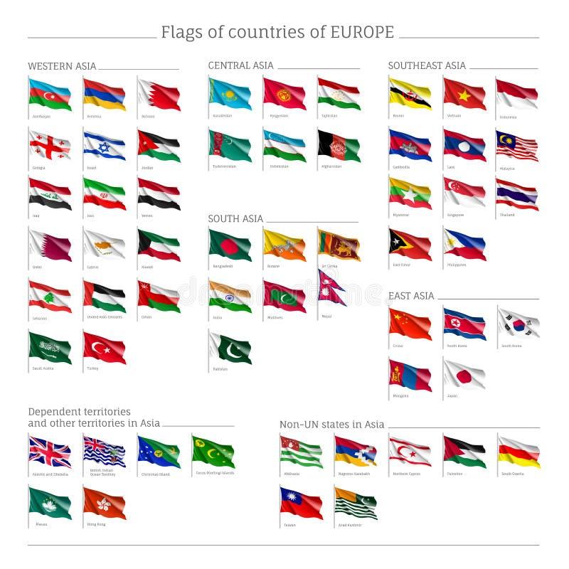 Sistema grande de banderas de Europa ilustración del vector