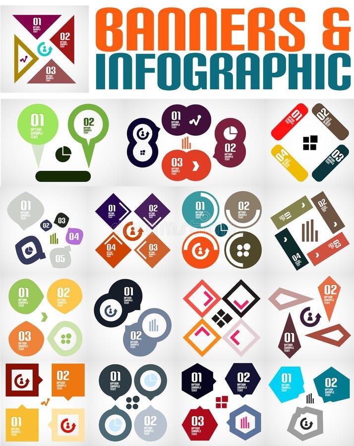 Sistema grande de banderas y de fondos infographic stock de ilustración