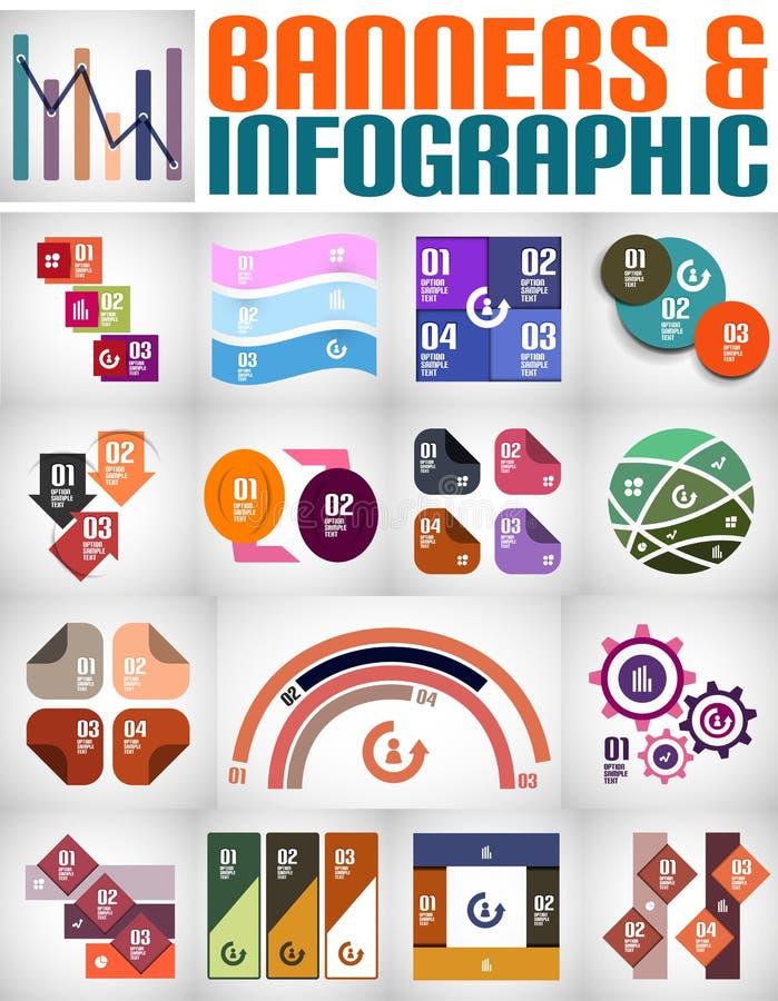Sistema grande de banderas y de fondos infographic libre illustration