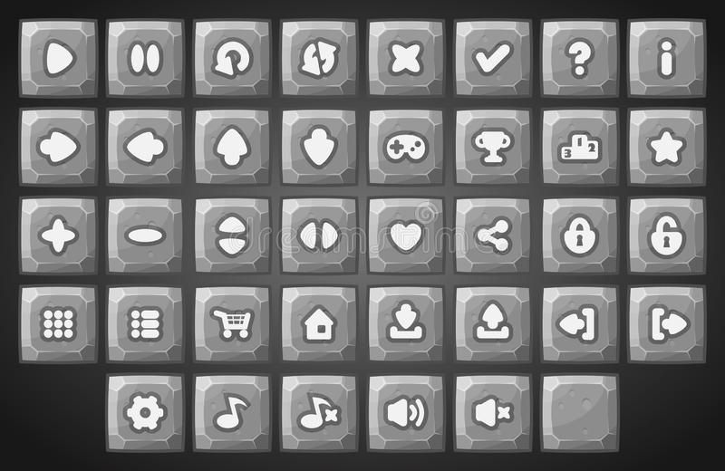 Sistema grande de botones materiales del vector de la historieta libre illustration