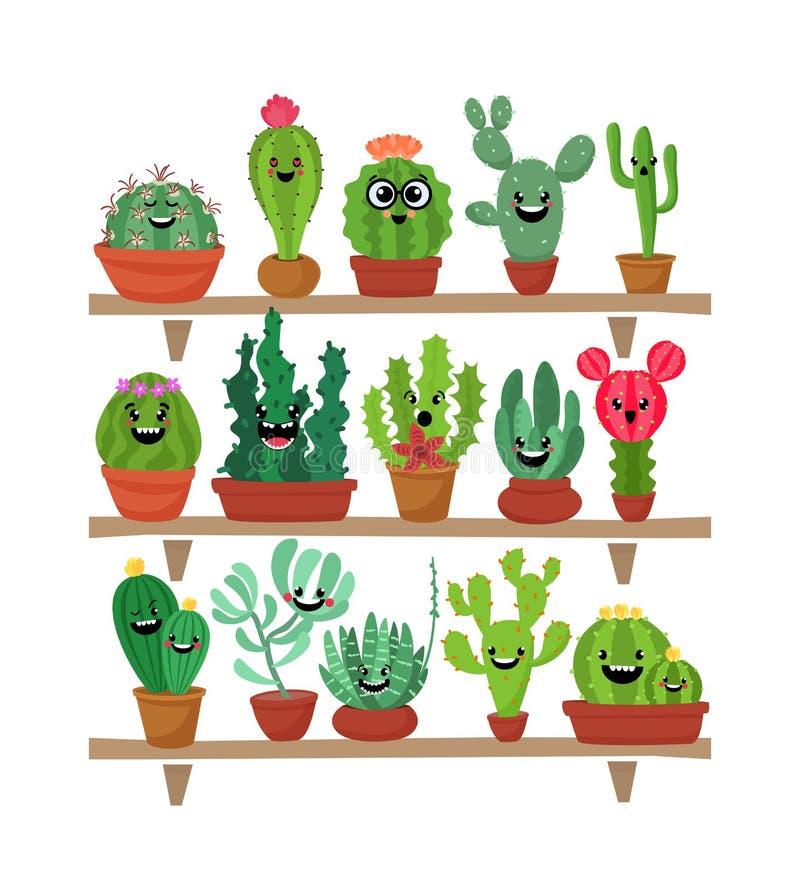 Sistema grande de cactus y de succulents lindos de la historieta con las caras divertidas Etiquetas engomadas o remiendos o colec ilustración del vector