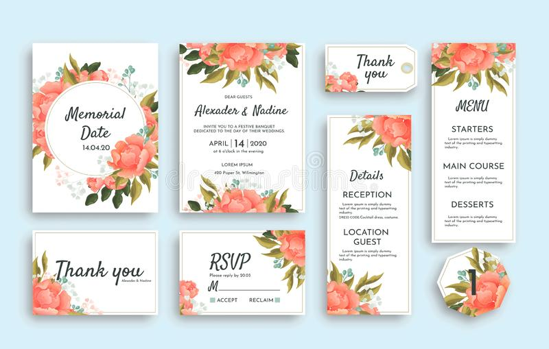 Sistema grande de casarse los efectos de escritorio con las rosas rosadas incluyendo diversas tarjetas RSVP, gracias, menú, detal stock de ilustración