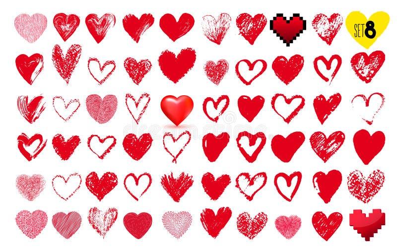 Sistema grande de corazones dibujados mano Color rojo Gráfico a pulso Ilustración del vector Aislado en el fondo blanco libre illustration