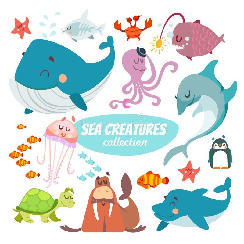 Sistema grande de criaturas del mar de la historieta stock de ilustración