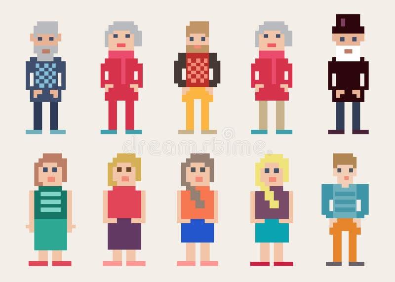Sistema grande de diversa gente del pixel libre illustration