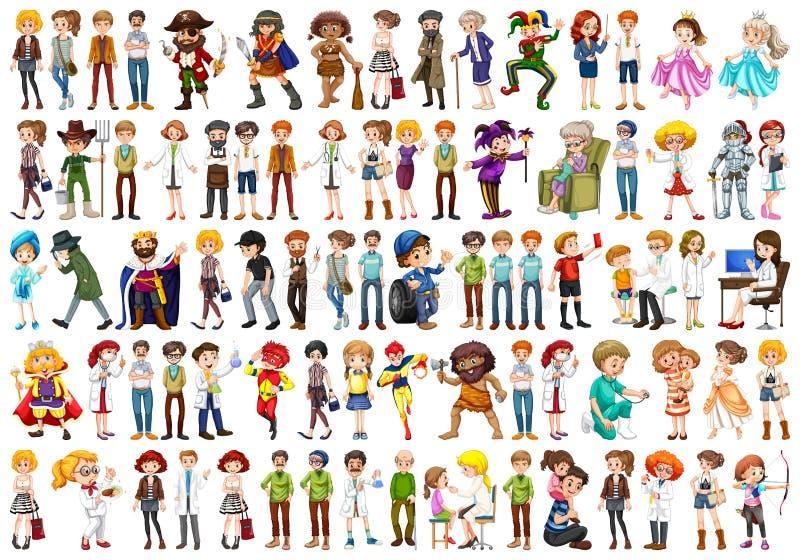 Sistema grande de diversa gente stock de ilustración