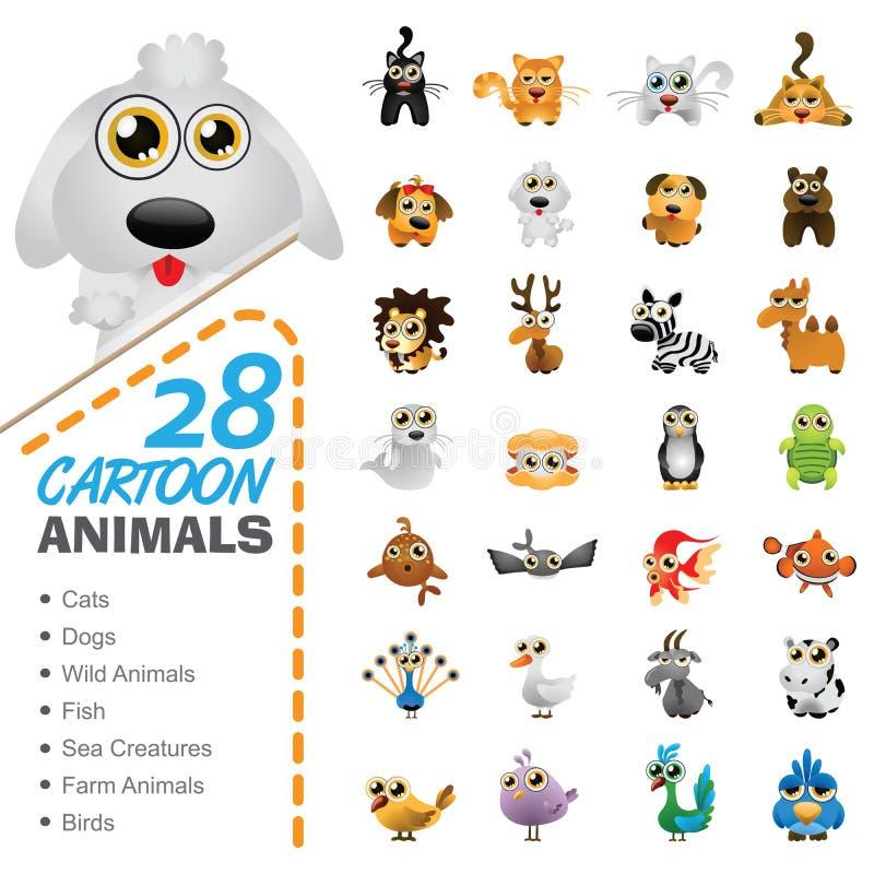 Sistema grande de diversos animales y pájaros de la historieta stock de ilustración