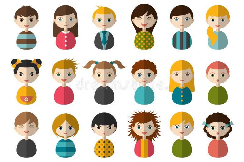 Sistema grande de diversos avatares de niños Muchachos y muchachas en un fondo blanco Retratos determinados del icono moderno pla stock de ilustración