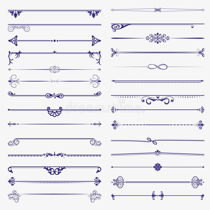 Sistema grande de divisores Elementos del diseño del vector y decoración caligráficos de la página stock de ilustración