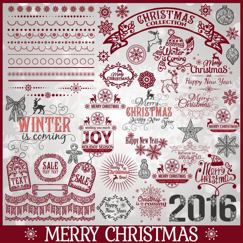 Sistema grande de elementos caligráficos del diseño de la Navidad ilustración del vector