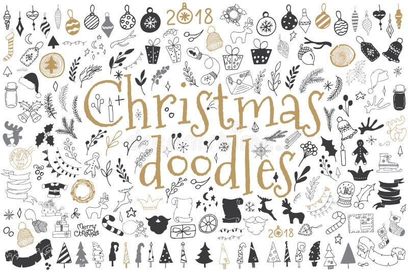 Sistema grande de elementos del diseño de la Navidad en estilo del garabato stock de ilustración