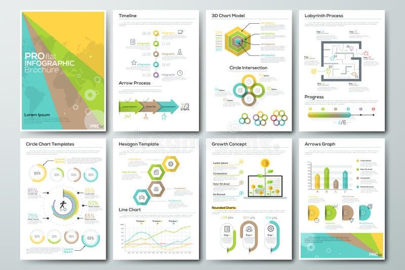 Sistema grande de elementos del vector y de folletos infographic del negocio stock de ilustración