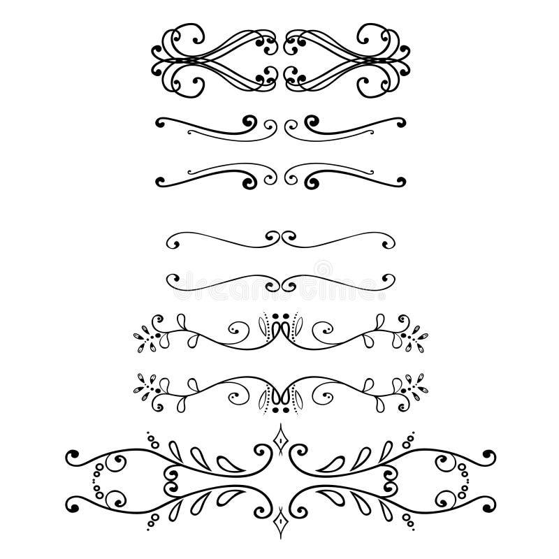 Sistema grande de elementos del vintage Colección de la decoración del vector Dé las flores, las hojas y la decoración exhaustas  libre illustration