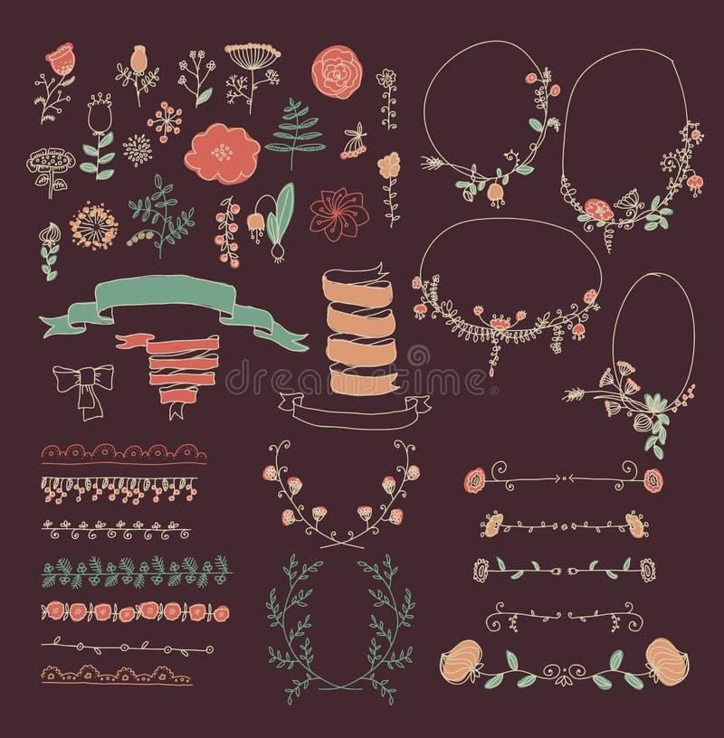 Sistema grande de elementos florales del diseño gráfico stock de ilustración