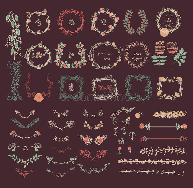 Sistema grande de elementos florales del diseño gráfico ilustración del vector