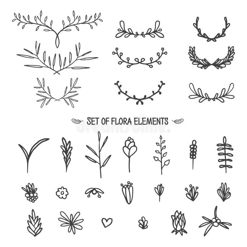 Sistema grande de elementos florales del vintage Doodle el estilo ilustración del vector