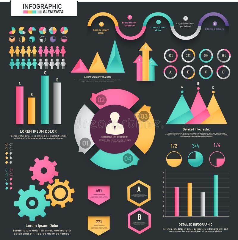 Sistema grande de elementos infographic del negocio estadístico libre illustration