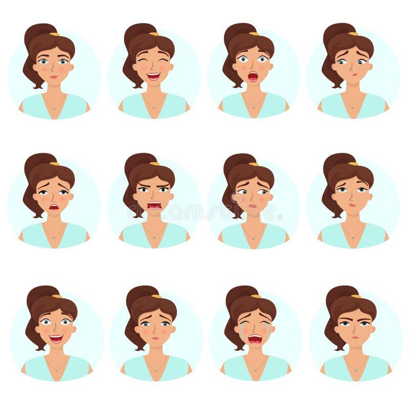Sistema grande de emociones del ` s de la muchacha Expresiones de la cara del ` s de la mujer stock de ilustración
