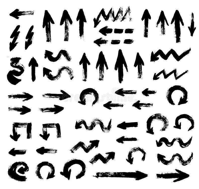 Sistema grande de flechas pintadas stock de ilustración