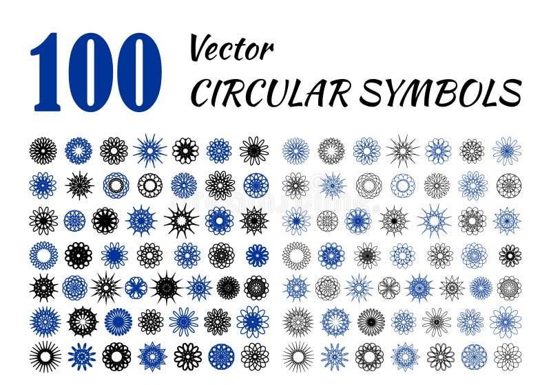 Sistema grande de flores abstractas del diseño libre illustration