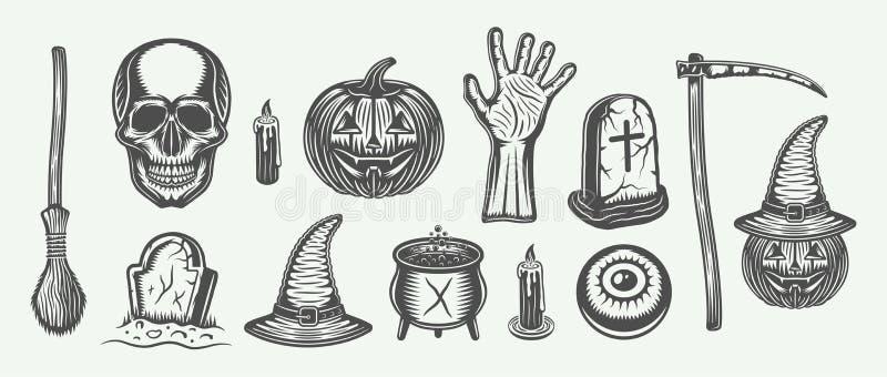 Sistema grande de Halloween del vintage de la escoba, cráneo, calabaza, mano, sepulcros stock de ilustración