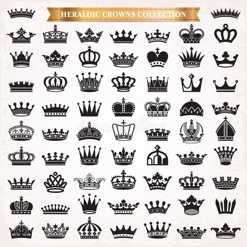 Sistema grande de iconos de la corona libre illustration