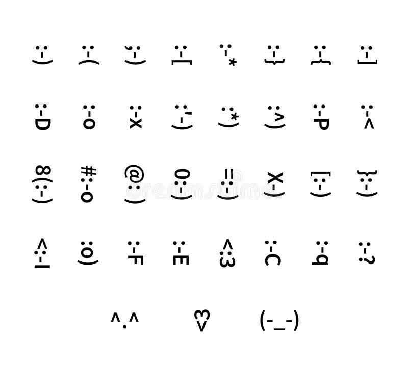 Sistema grande de iconos del smiley de la tipografía ilustración del vector