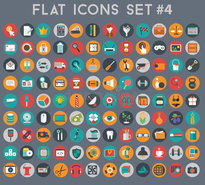 Sistema grande de iconos planos del vector con colores modernos stock de ilustración
