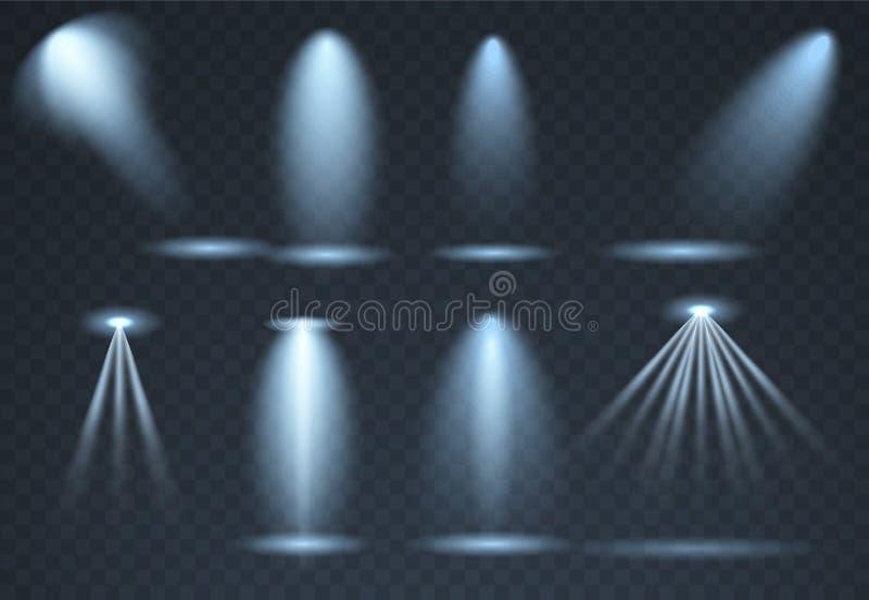 Sistema grande de iluminación azul de la escena, efectos transparentes Iluminación brillante con la colección de los proyectores ilustración del vector