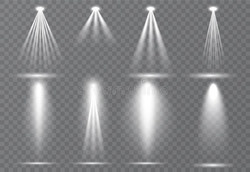 Sistema grande de iluminación de la escena, efectos transparentes Iluminación brillante con la colección de los proyectores stock de ilustración