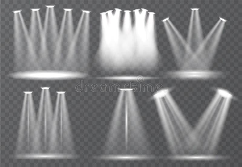 Sistema grande de iluminación de la escena, efectos transparentes Iluminación brillante con la colección de los proyectores libre illustration