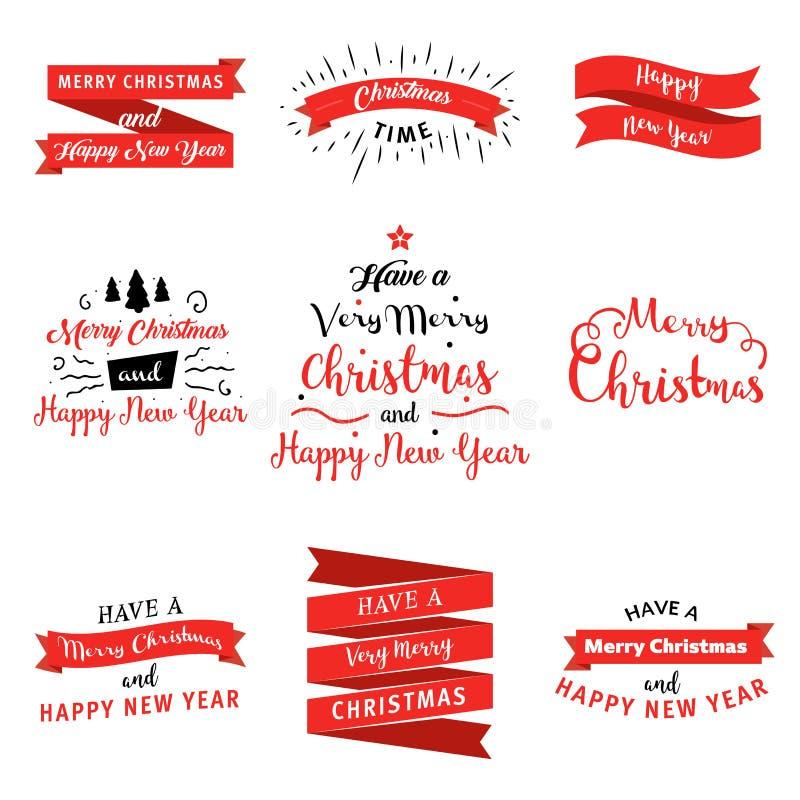 Sistema grande de insignias de la Feliz Navidad y de la Feliz Año Nuevo y banderas en estilo plano del diseño Colección del ejemp stock de ilustración