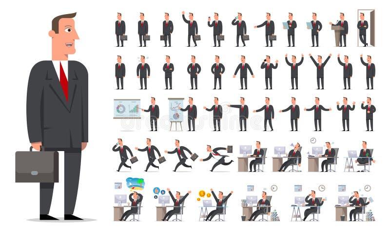 Sistema grande de la creación del carácter del hombre de negocios o del encargado Diferente compita ilustración del vector
