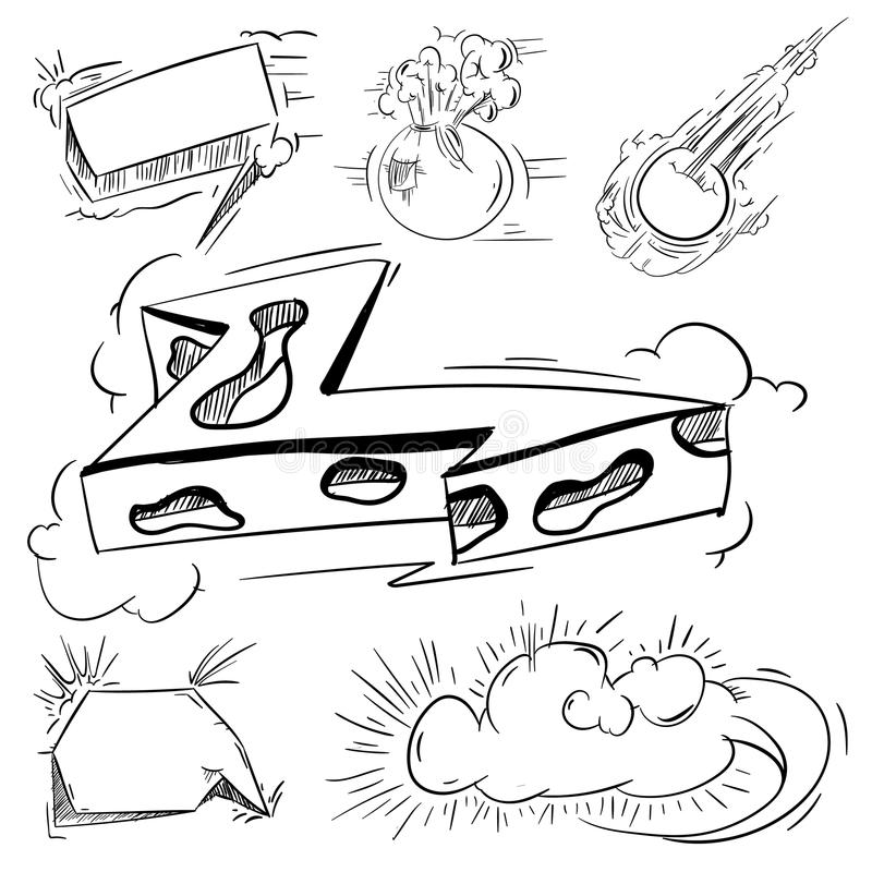 Sistema grande de la historieta, burbujas cómicas del discurso, nubes vacías del diálogo en el estallido Art Style Ejemplo para e stock de ilustración